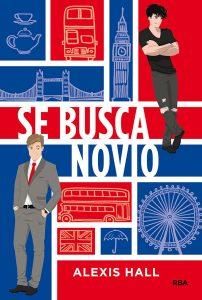 Portada de la novela Se busca novio en colores rojo, azul y blanco.